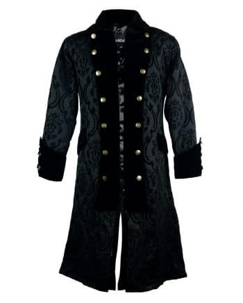 Gothic Piratenmantel mit Brokat schwarz