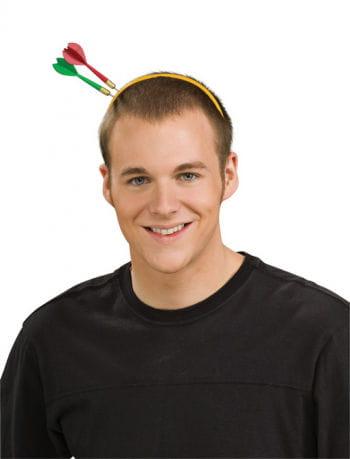 Schwarzer Haarreif mit Dart-Pfeilen im Kopf