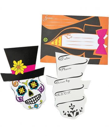 12 Sugar Skull Einladungskarten