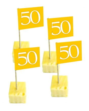 Cocktailspießchen Zahl 50 gold 50 St.