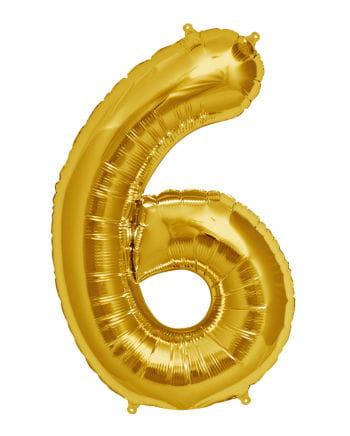 Folienballon Zahl 6 Gold