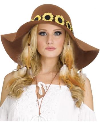 Brauner Hippie Sonnenblumen Hut