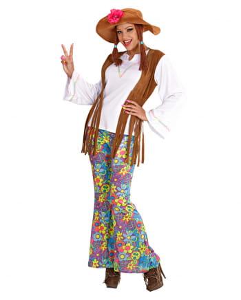 Hippie Frauen Kostüm mit Zöpfen Gr. S