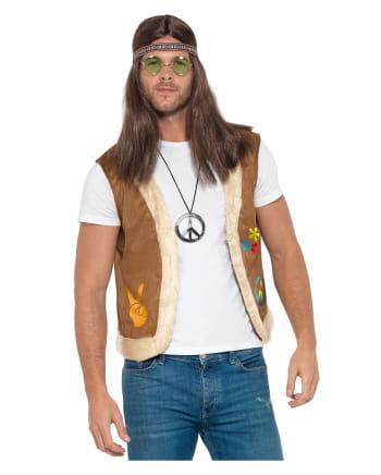 Hippie Weste mit Print und Kunstfell