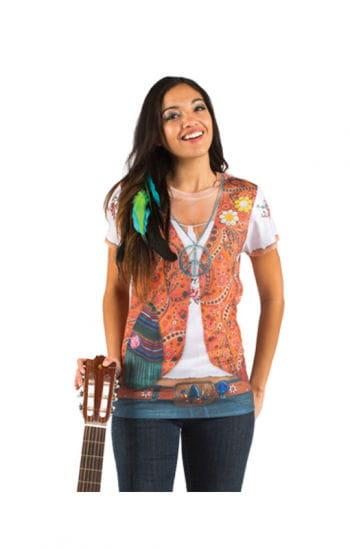 Hippie Frauen T-Shirt mit Strass