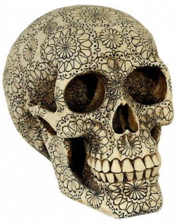 Totenkopf mit Blütenmuster