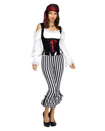 Schwarz-weiße Piratin Kostümhose