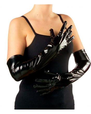 Schwarze Lack-Handschuhe