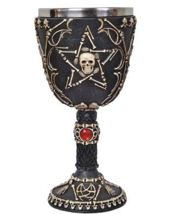 Pentagramm Kelch mit Totenköpfen
