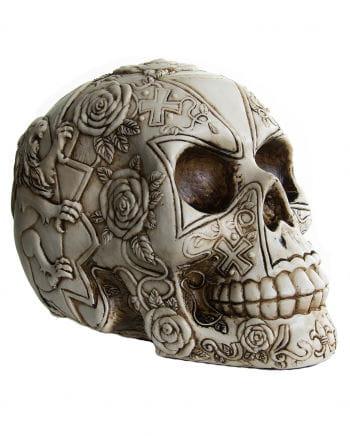 Totenkopf mit Rosendesign