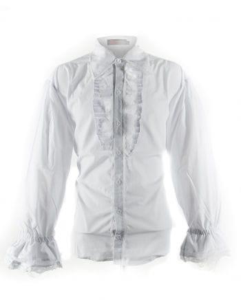 Weißes Gothic Herrenhemd mit Jabot