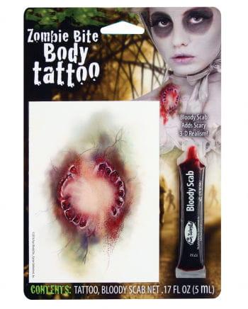Zombie Tattoo-Wunde mit Filmblut