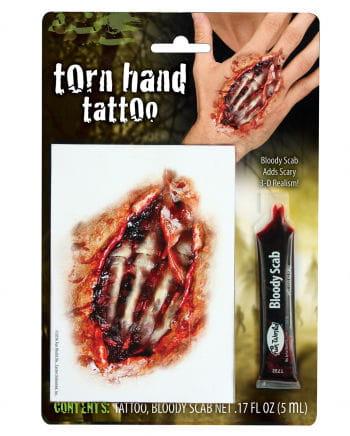 Fleischwunde Hand Tattoo mit Filmblut