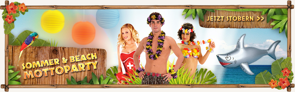 Costumes and decoration for summer parties at Karneval Universe - buy now!