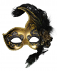 Venetian Mask with Feathers black / gold