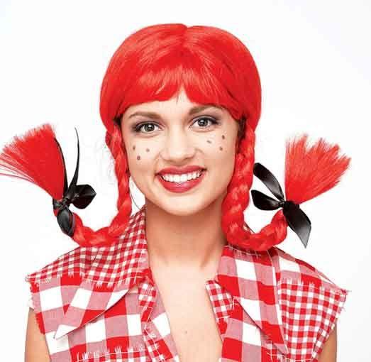 Hillbilly Girl Zopfperücke rot für Fasching