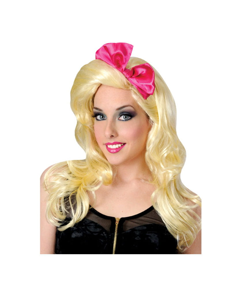 Popstar Perücke mit pinker Schleife Faschingsperücken kaufen