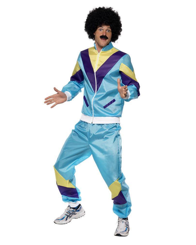 80er Jahre Sportler Anzug Kostüm Blaues Jogginganzug Kostüm XL