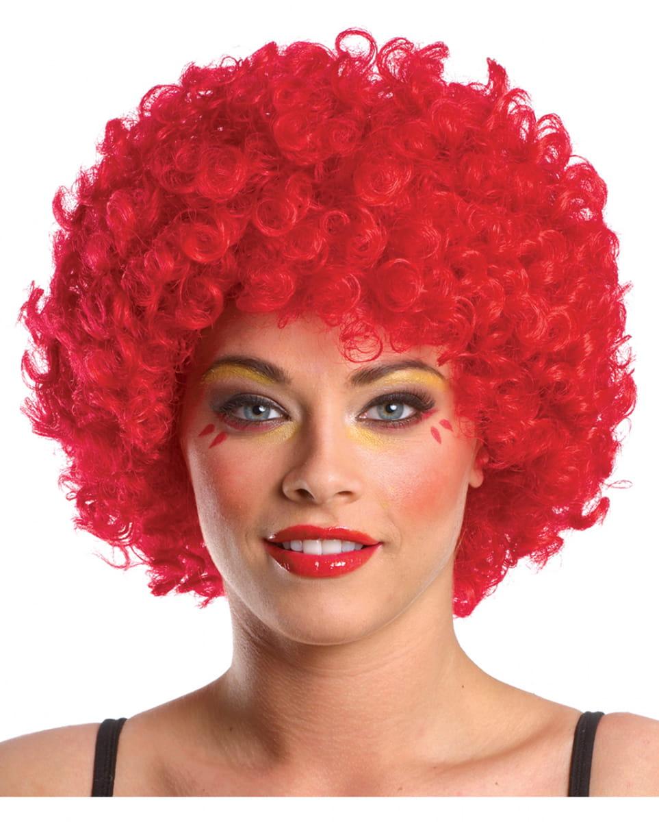 Afro Clown Perücke rot Faschingsperücken kaufen