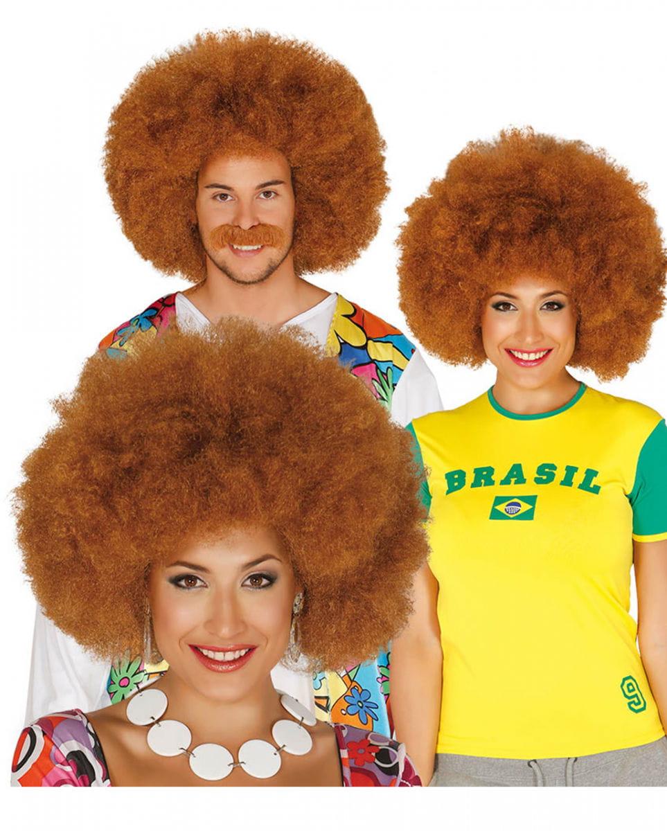 Braune Afro Look Perücke für Fasching kaufen