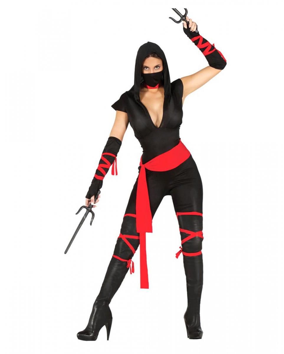 Schwarze Ninja Kriegerin Kostüm für Damen M