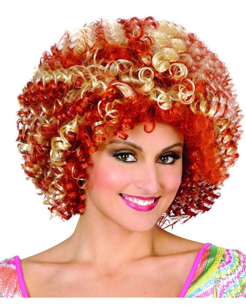 Rot-blonde 70er Afro Perücke Disco Lockenperücke