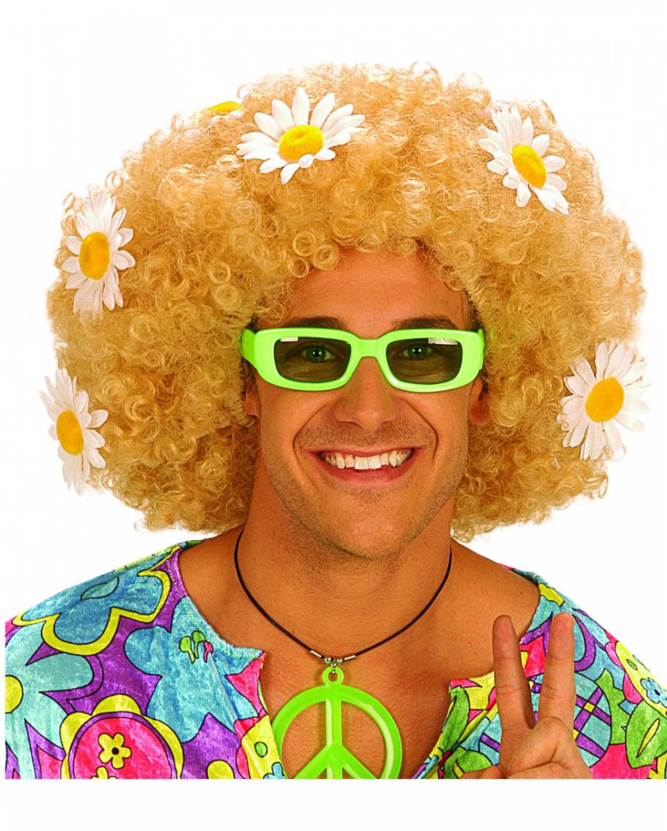 Flowerpower Afro Perücke Blond für Fasching