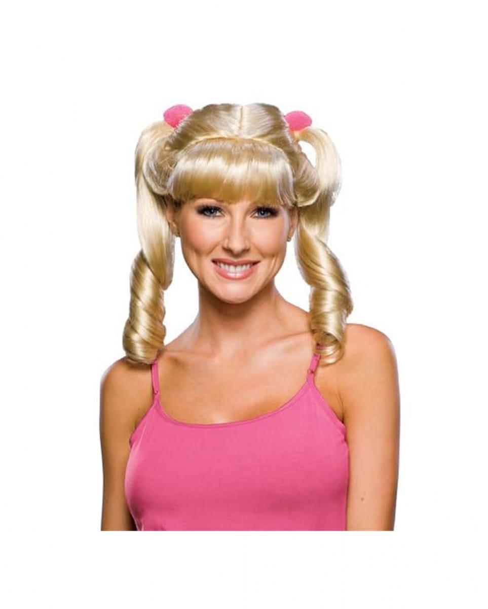 Cheerleader Perücke blond Blonde Zopfperücken günstig kaufen