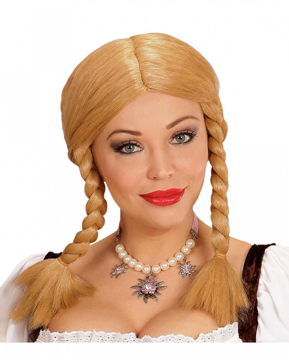 Wendy mit Zöpfen Perücke blond Faschingsperücke