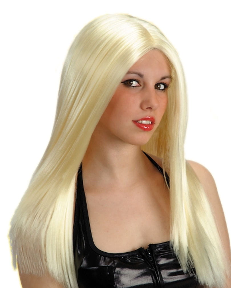 Langhaar Perücke blond, gescheitelt Karnevalsperücken kaufen