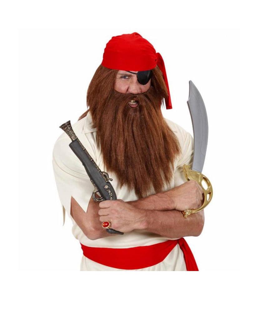 Piraten Perücke mit Bart Freibeuter Perückenset Braun