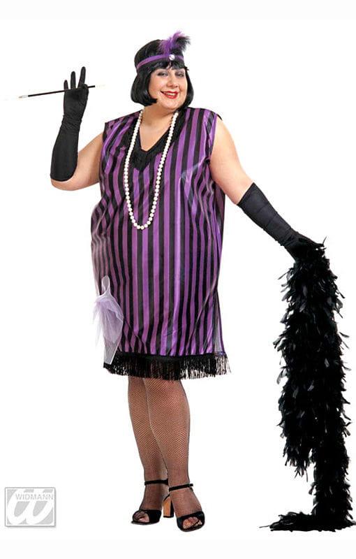 Charleston Kleid schwarz violett XL 20er Jahre Kostüme