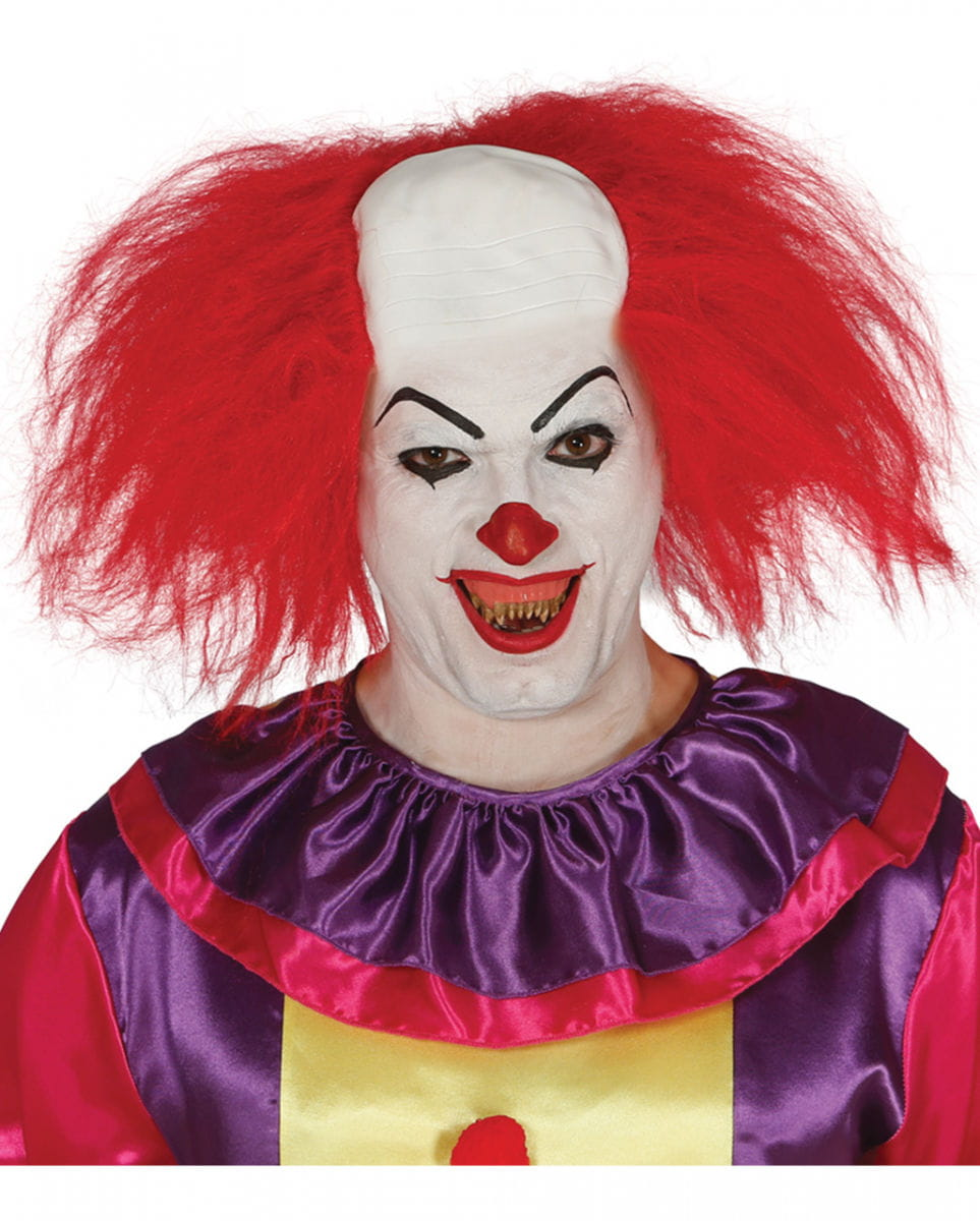 Rote Clowns Perücke mit Halbglatze Horror Clown Perücke