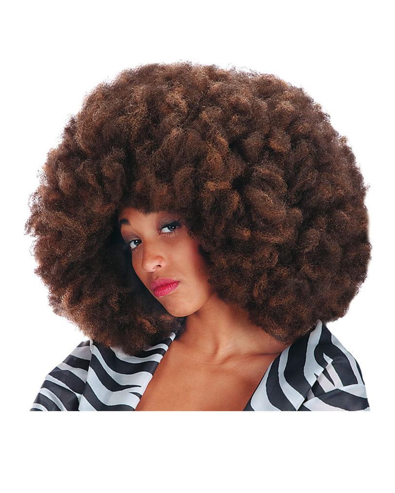 Crazy Disco Afro Perücke kaffee meliert Braune Afro Perücke als