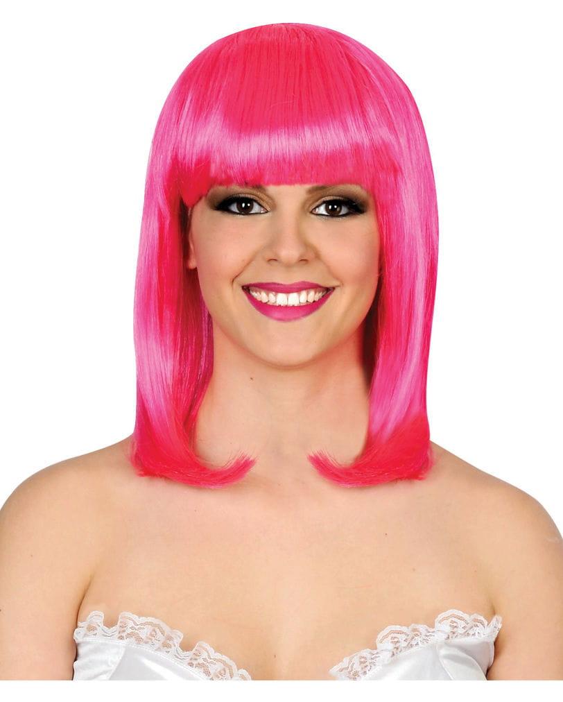 Neonpinke Damen Perücke mit Pony Knallig pinke Langhaarperücke