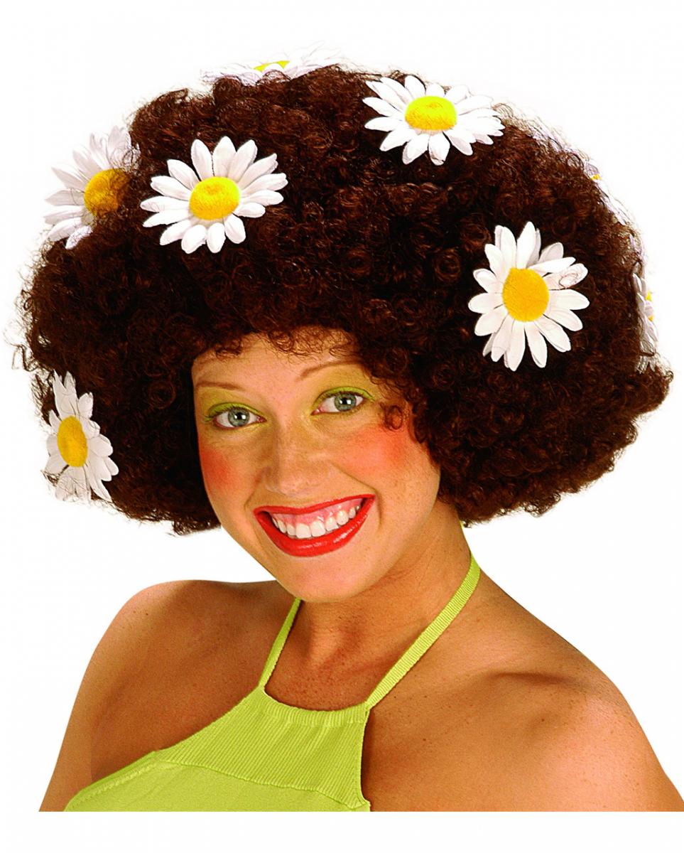 Flowerpower Afro Perücke Braun für Fasching