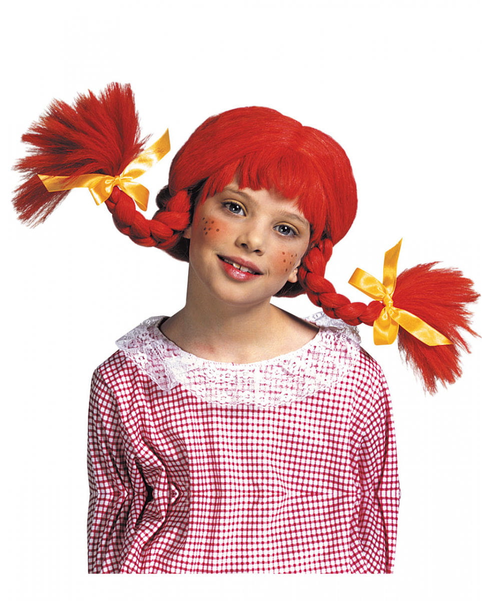 Rote Zopfperücke für Kinder für Karneval