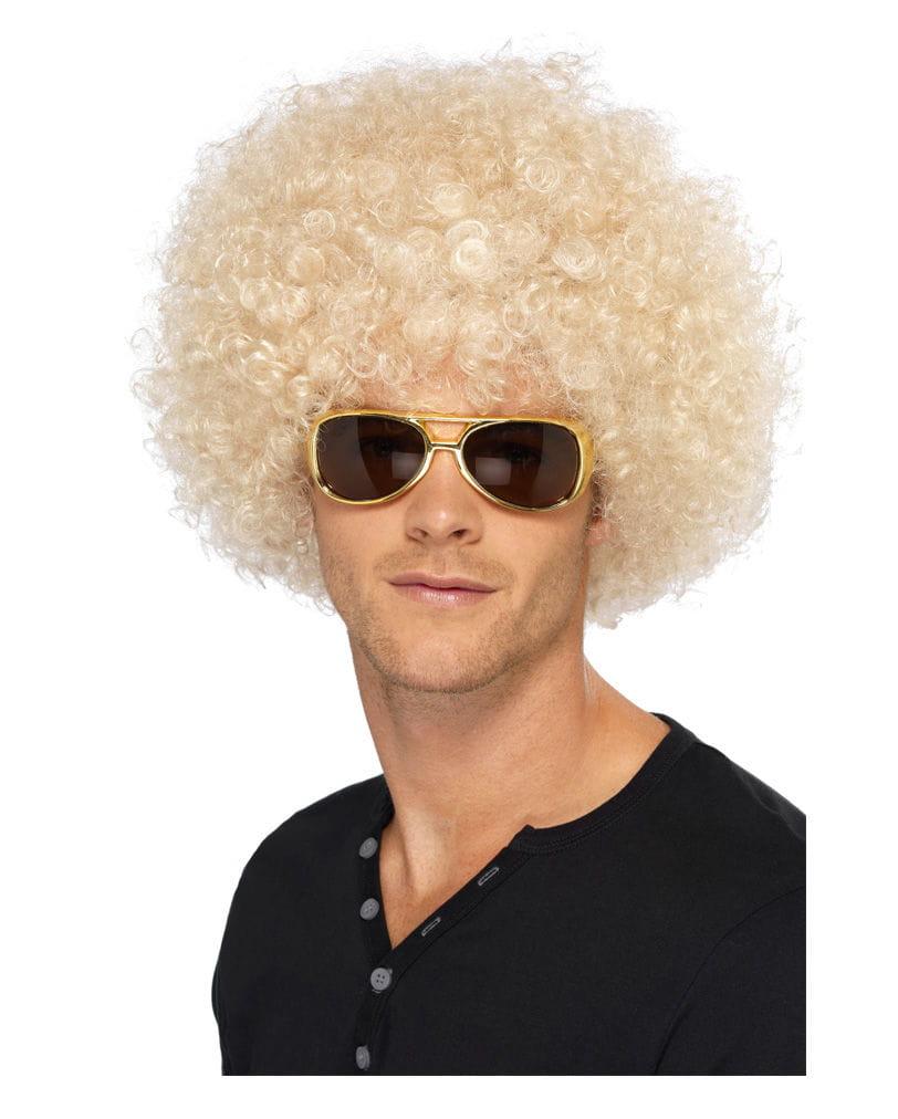 Blonde Funky Afro Perücke Hippie Lockenperücke Blond