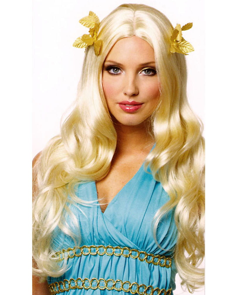 Göttinnen Perücke mit Lorbeerblättern blond Faschingsperücke