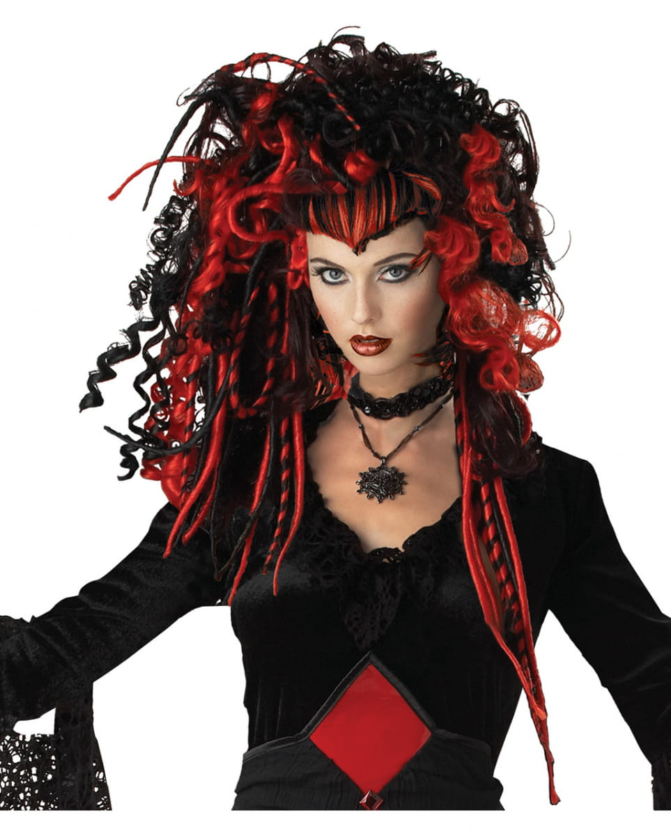 Schwarz-rote Gothic Vamp Perücke für Halloween