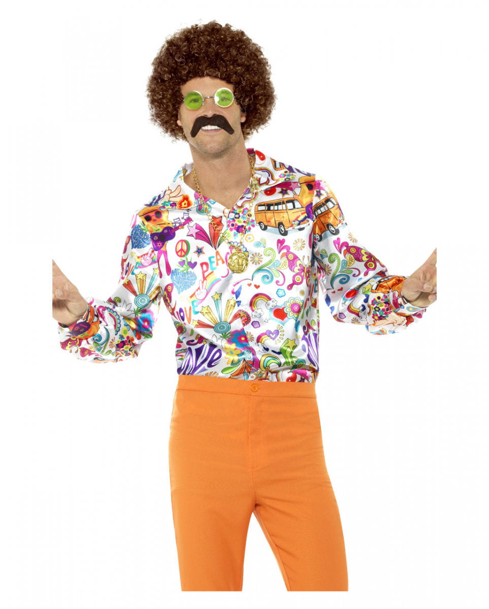 Buntes 60s Groovy Hemd Hippie Kostümzubehör XL