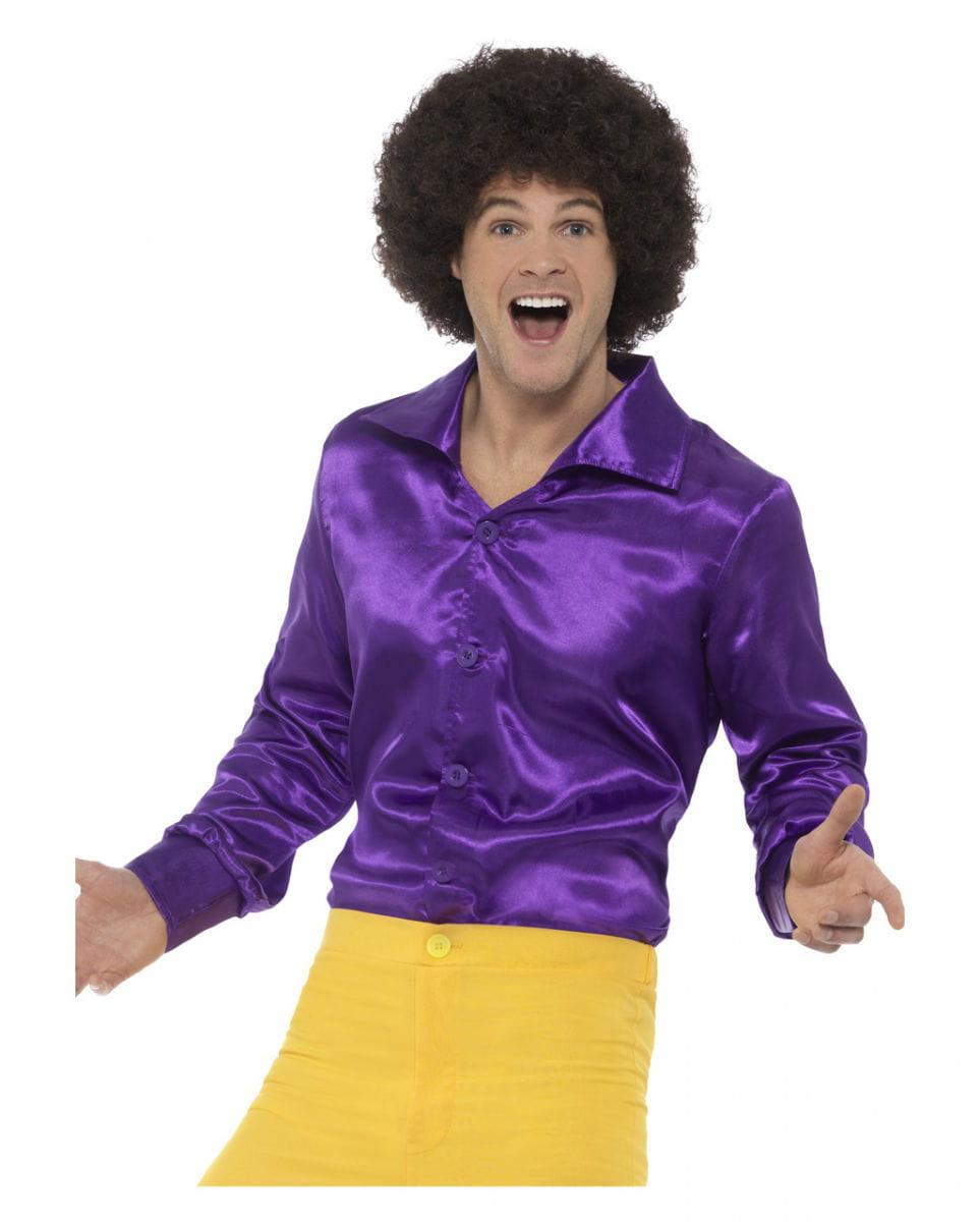 Violettes 60s Disco Hemd für Fasching L