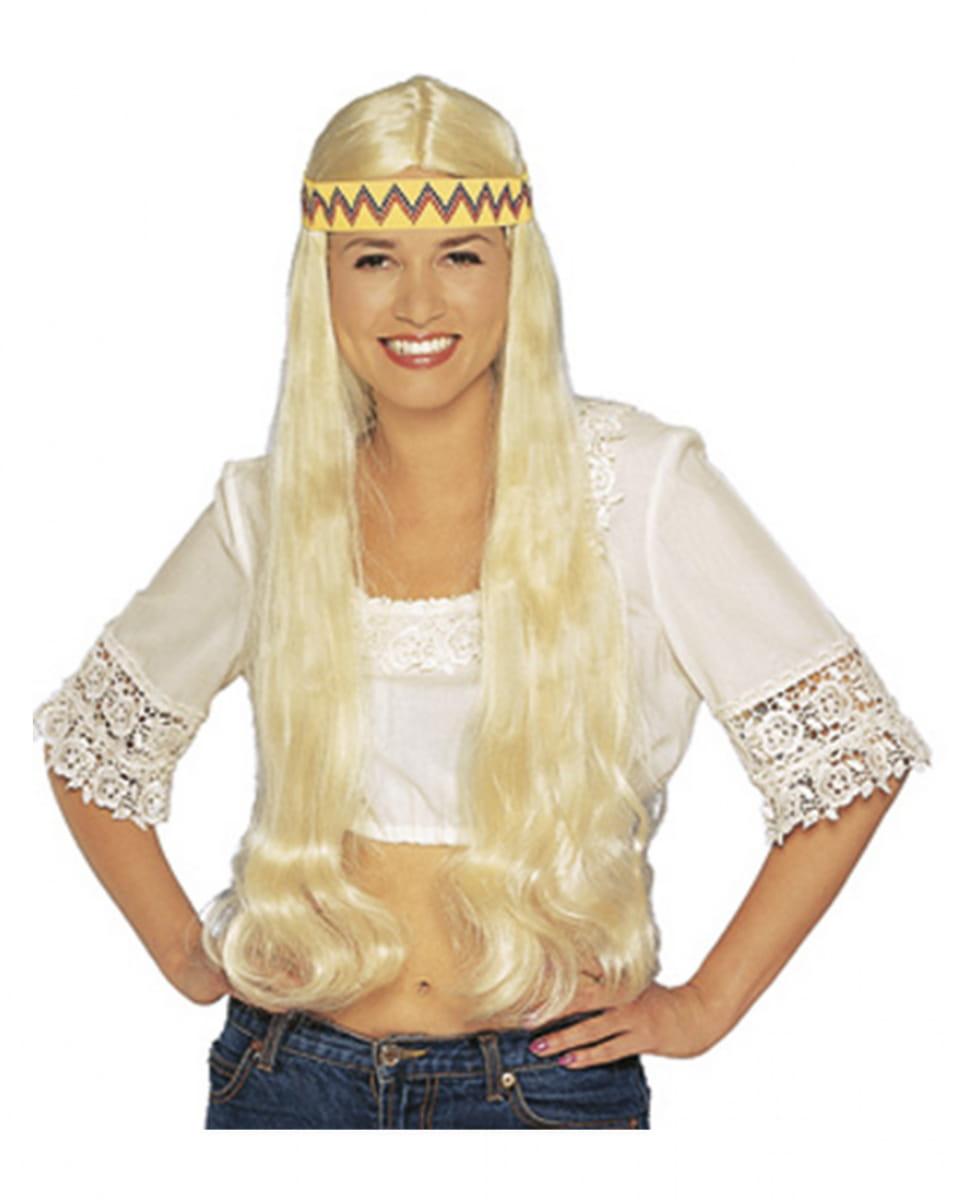 Blonde Hippie Perücke mit Haarband für Fasching