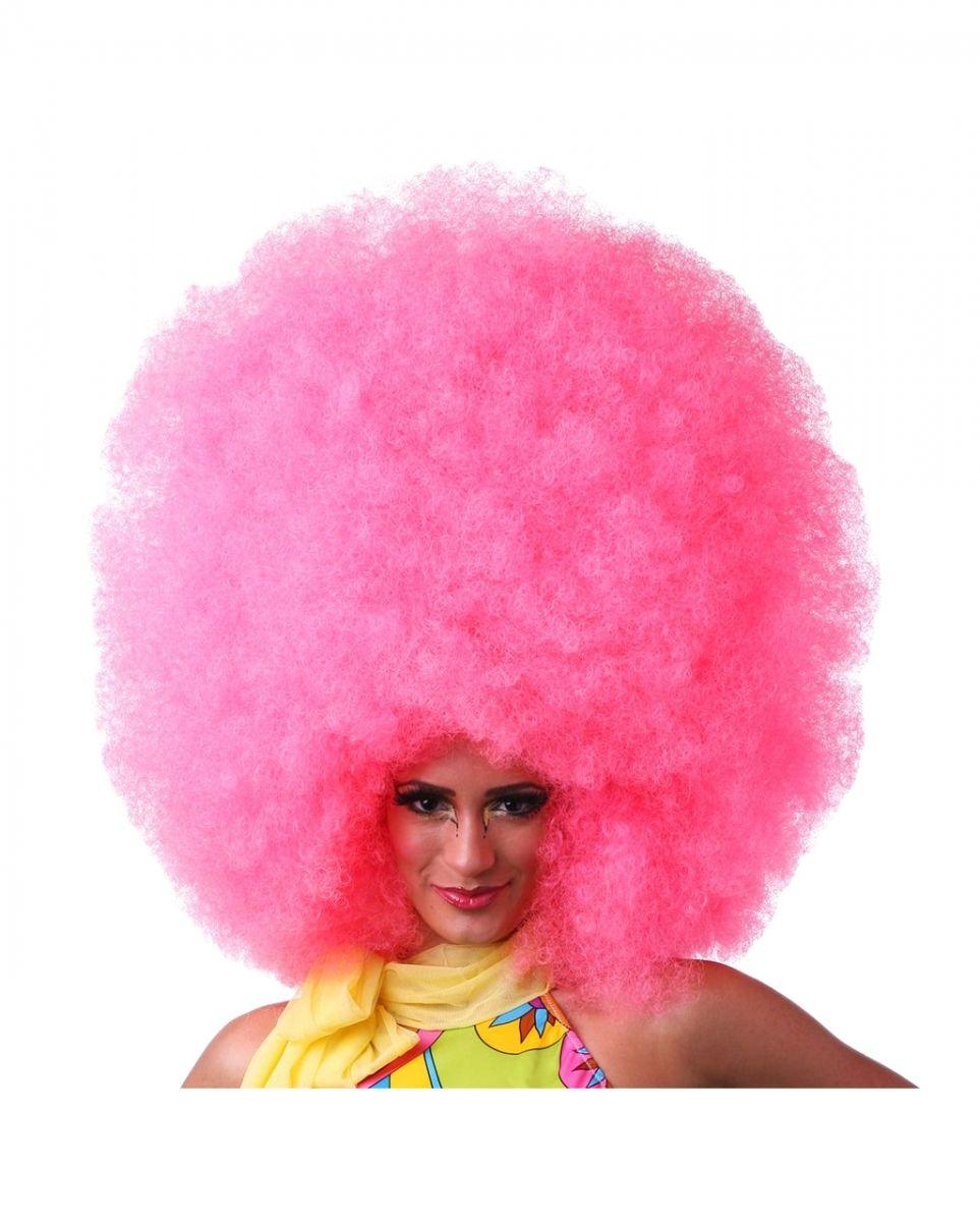 Hot Pink Afro Perücke XXL für Cosplay und Fasching