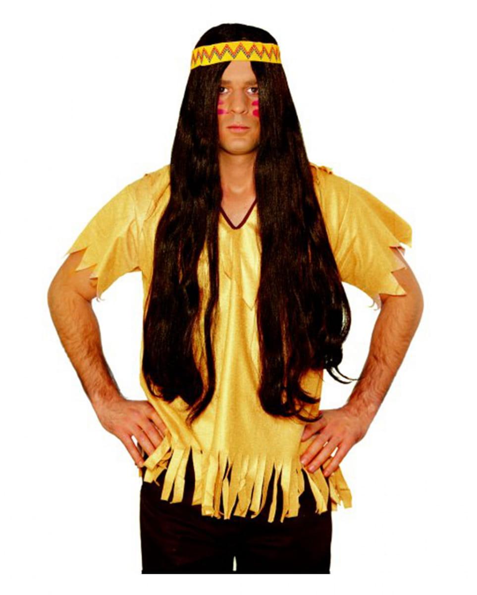 Braune Indianer Perücke mit Haarband für Fasching