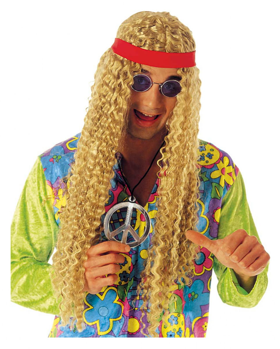 Langhaar Hippie Perücke blond Karnevals Perücke
