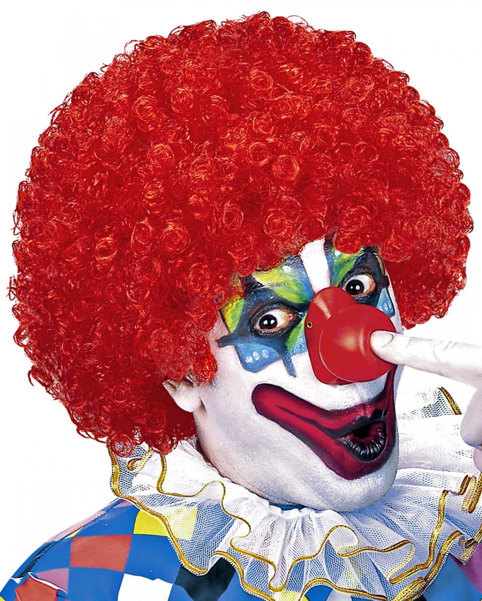 Rote Clown Lockenperücke für Karneval