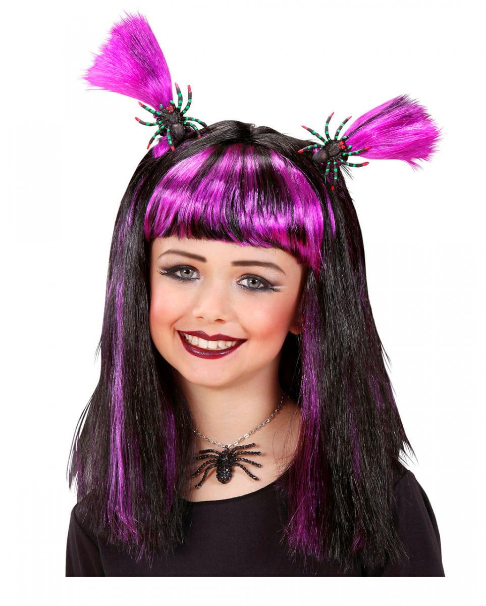 Halloween Kinderperücke violett mit Spinnen