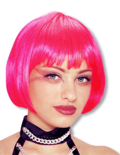 Pagenkopf Perücke Hot Pink für Fasching