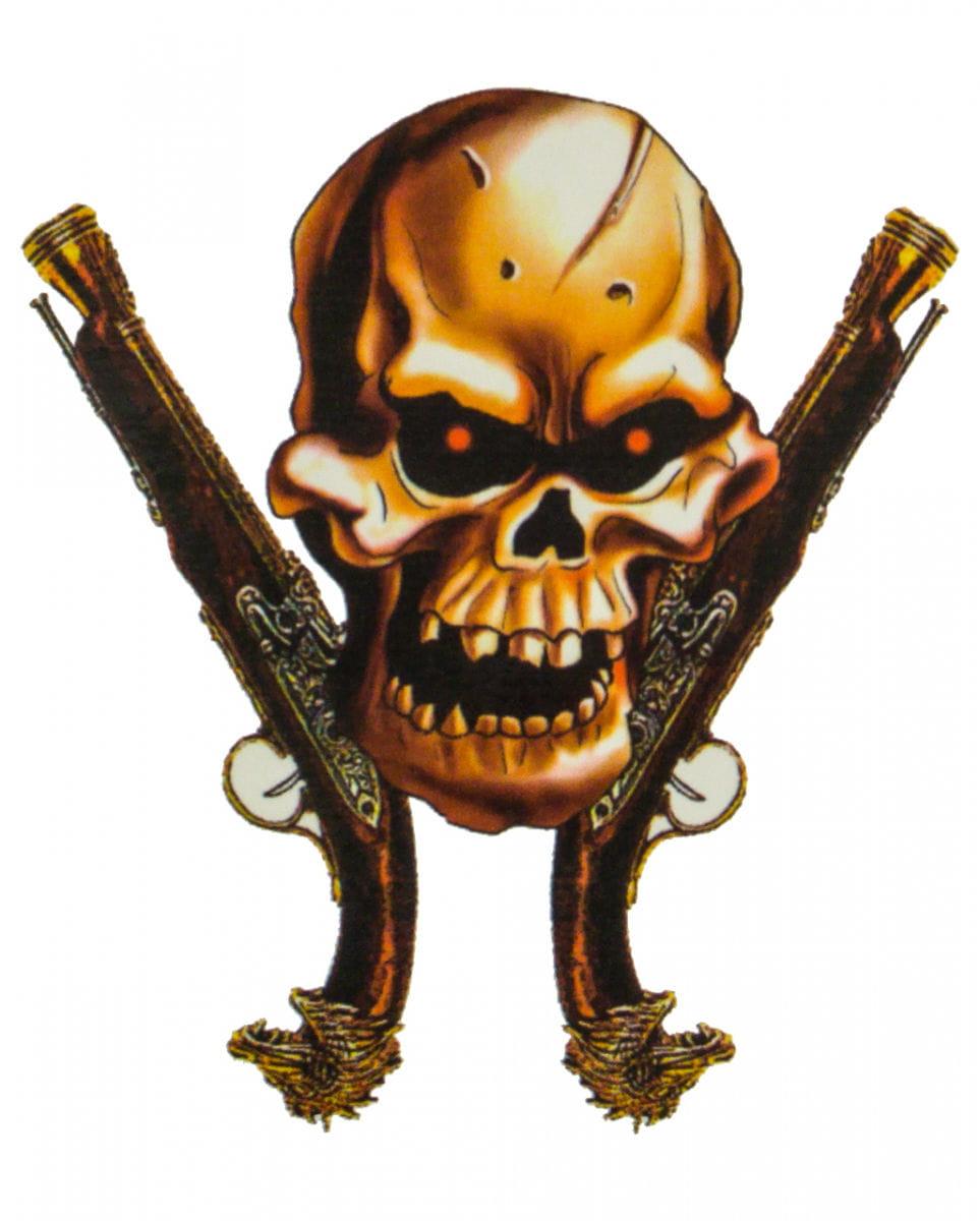 Piraten Klebetattoo mit Totenkopf für Fasching